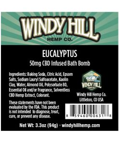 Windy Hill Hemp CBD Bath Bomb Label Eucalyptus