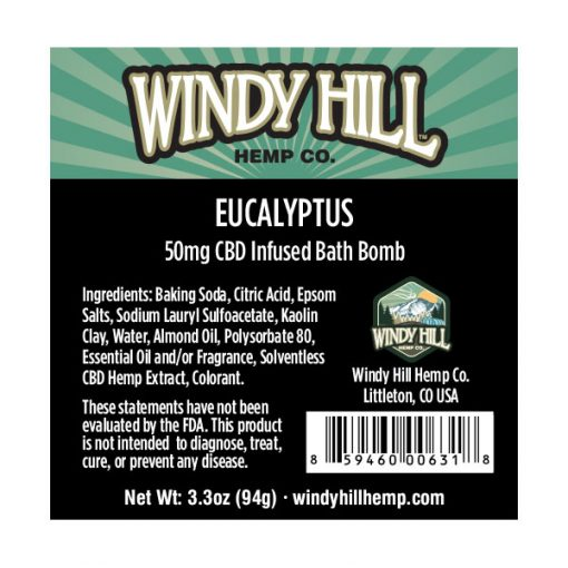 Windy Hill Hemp CBD Bath Bomb Label Eucalyptus