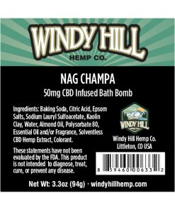 Windy Hill Hemp CBD Bath Bomb Label Nag Champa