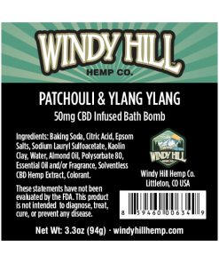 Windy Hill Hemp CBD Bath Bomb Label Patchouli