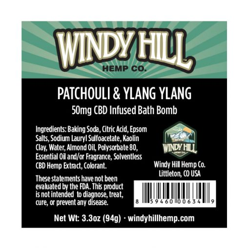 Windy Hill Hemp CBD Bath Bomb Label Patchouli