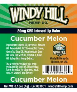 Windy Hill Hemp Lip Balm Label Cucumber Melon