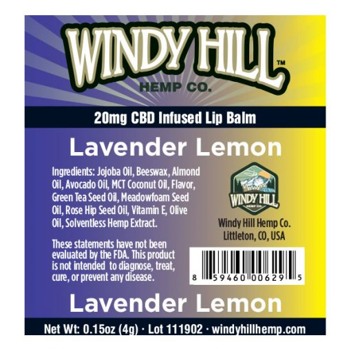 Windy Hill Hemp Lip Balm Label Lavender Lemon