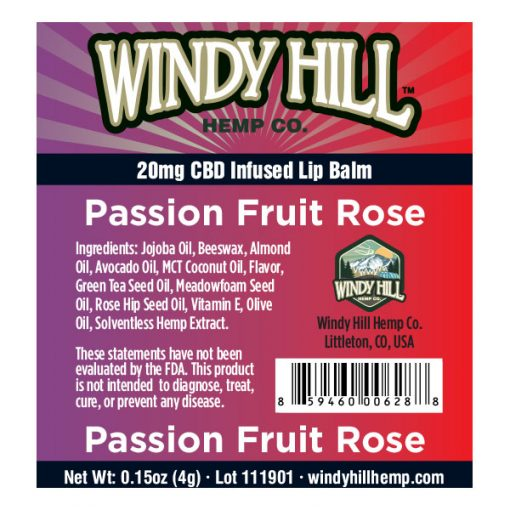 Windy Hill Hemp Lip Balm Label Passion Fruit Rose