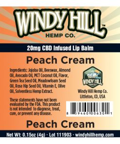 Windy Hill Hemp Lip Balm Label Peach Cream